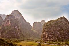 View at Karst mountains near Guilin in China. Royalty Free Stock Photos