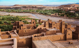 View from Kasbah Ait Benhaddou. Early morning at the Kasbah Ait Ben Haddou in Morocco stock images