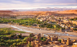 View from Kasbah Ait Benhaddou. Early morning at the Kasbah Ait Ben Haddou in Morocco royalty free stock image