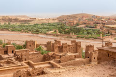 View from Kasbah Ait Benhaddou to valley with Ksars - Morocco Royalty Free Stock Images