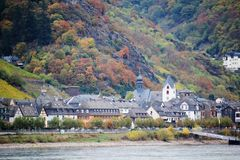 View of Kaub town in the river Rhine valley, Germany royalty free stock images