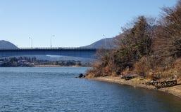 View of Kawaguchi lake in Japan. View of Kawaguchi lake, nearby Mount Fuji in Japan stock photos