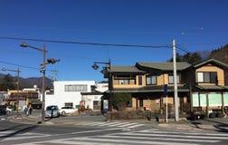 View of Kawaguchi town, nearby Mount Fuji. View of Kawaguchi town with many wooden houses, nearby Mount Fuji, Saitama, Japan royalty free stock images