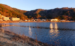 View of Kawaguchi village with the lake in Japan.  royalty free stock images