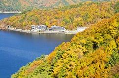 View the kawaguchiko Lake. High View Kawaguchiko lake at the ropeway Royalty Free Stock Photo