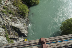 View from Kawarau bridge to river. New Zealand Royalty Free Stock Image