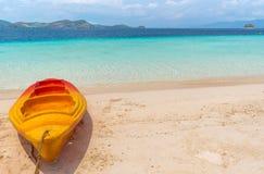 View of kayak on tropical beach on the Banana island, Palawan stock photo