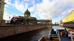 View of the Kazan Cathedral from the boat in St. Petersburg stock footage