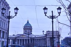 View of the Kazan Cathedral, center of the St.Petersburg stock photos
