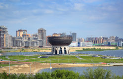 View on Kazan city and new wedding palace Stock Photos