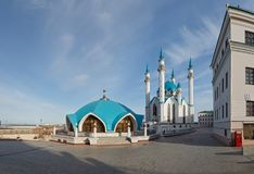 View of the Kazan Kremlin mosque cathedral Col-Sharif Royalty Free Stock Photography