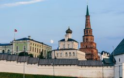 View of the Kazan Kremlin. With Presidential Palace, Annunciation Cathedral and Soyembika Tower royalty free stock image