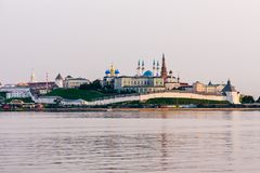 View of the Kazan Kremlin. With Presidential Palace, Annunciation Cathedral, Soyembika Tower and Qolsharif Mosque from Kazanka River stock image