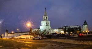 Kazan Kremlin. View of the Kazan Kremlin in the winter evening, Kazan, Russia Stock Images