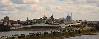 Kazan kremlin, cityscape. View of the Kazan premiere from a bird`s eye view Royalty Free Stock Photo