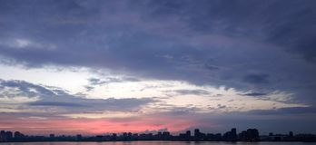 View from the Kazan Quay. Beautiful sky with sunset and pink clouds stock photography