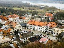 View on Kazimierz Dolny from Three Cross Hill. Location of city of Kazimerz Dolny in February. View on market Vistula river and surrounding forest and meadows Stock Photos