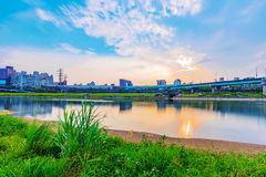 View of Keelung river during sunset Royalty Free Stock Photo