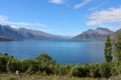 Bayonet Peaks and Lake Wakatipu, Otago, New Zealand. View from Kelvin Heights, Queenstown looking south across part of Lake Wakatipu to Bayonet Peaks and other Royalty Free Stock Images