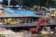 Heavy machinery operating on the construction site of the stadium for the 2020 Tokyo Olympics. Stock Photography