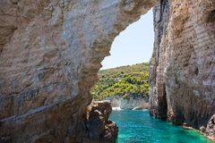 View of  Keri blue caves  in Zakynthos Zante island, in Greece Stock Photography