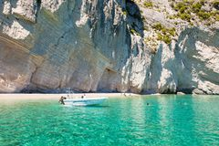 View of  Keri blue caves  in Zakynthos Zante island, in Greece Royalty Free Stock Photo