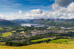View of Keswick and Derwent Water from Latrigg, Cumbria, UK. View of Keswick and lake Derwent Water from Latrigg, Cumbria, UK Royalty Free Stock Image