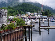 View of Ketchkan Alaska Harbor. And mountains royalty free stock photo