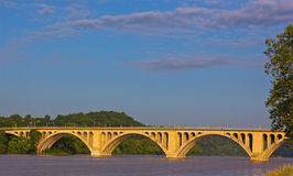 A view on Key Bridge over Potomac River from Georgetown Park in Washington DC. Stock Photos