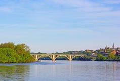 A view on Key Bridge and Potomac River, Washington DC, USA. Royalty Free Stock Photo