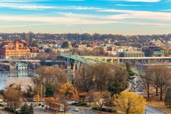 View on Key bridge in Washington DC at winter morning royalty free stock image