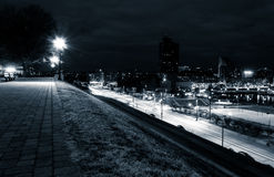 View of Key Highway and Baltimore from Federal Hill at night. Royalty Free Stock Photo