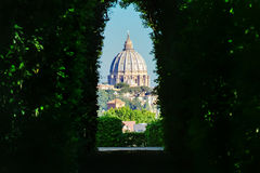 View through the keyhole. Aventine hill Royalty Free Stock Photos