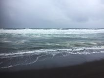 View of Khalaktyrsky beach in stormy weather stock images