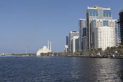 View Khalid Lagoon and Al Noor Mosque (Al Noor Mosque). Sharjah. United Arab Emirates Royalty Free Stock Images
