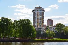 View of Khimki city from side of Moscow Canal. Russia. Stock Photo