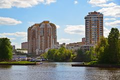 View of Khimki city from side of Moscow Canal. Russia. Royalty Free Stock Photography