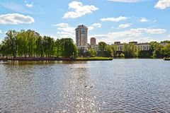 View of Khimki city from side of Moscow Canal. Russia. Royalty Free Stock Photo