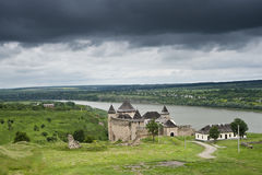 View on the Khotyn castle. Khotyn castle, river and meadows near the castle royalty free stock image