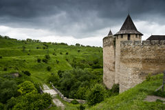 View on the Khotyn castle. Towers of the khotyn castle, bridge and meadows near the castle royalty free stock photo