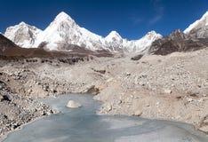 View of Khumbu glacier with lake and Pumori peak Stock Photography