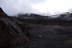 Looking up towards summit of Mount Kilimanjaro with cloud cover. Stock Photography