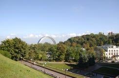View on Kiev Arc of Nations Friendship. From Vladimirskaya Hill Stock Image