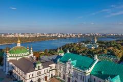 View of Kiev Pechersk Lavra and Dnepr river. Kiev, Ukraine Royalty Free Stock Image