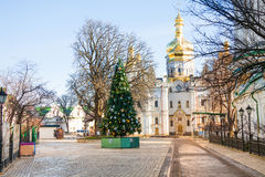 View of Kiev Pechersk Lavra with new year tree Stock Images