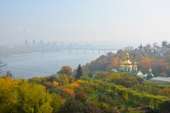 View of Kiev Pechersk Lavra to the Dniper river Royalty Free Stock Photos