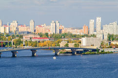 View of Kiev, Ukraine.Banks of the Dnieper river. Stock Photography