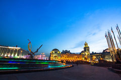 View of Kievskiy railway station at night. Royalty Free Stock Photos