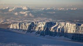 View from Kilimanjaro Uhuru peak 5895 m to glacier Stock Photo