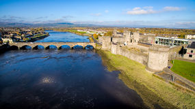 View of King John`s Castle and Limerick city, Ireland King John`s Castle Royalty Free Stock Images
